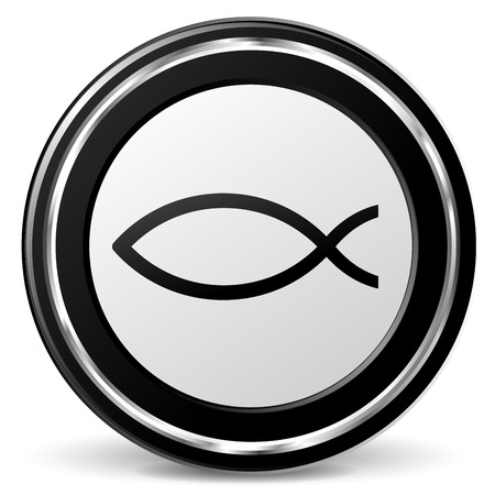 ichthys: Vector illustration of chrome and black jesus fish icon