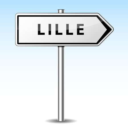 Vector illustration of lille directional sign on sky background Illustration