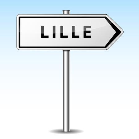 lille: Vector illustration of lille directional sign on sky background Illustration