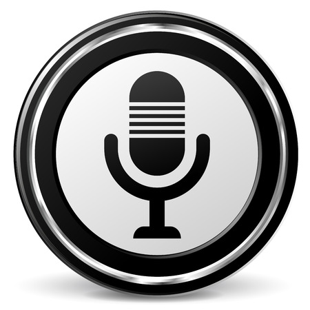 Vector illustration of chrome and black microphone icon Vector