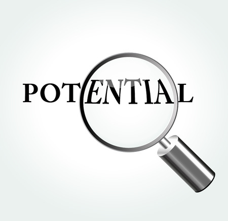 potential: Vector illustration of potential concept with magnifying