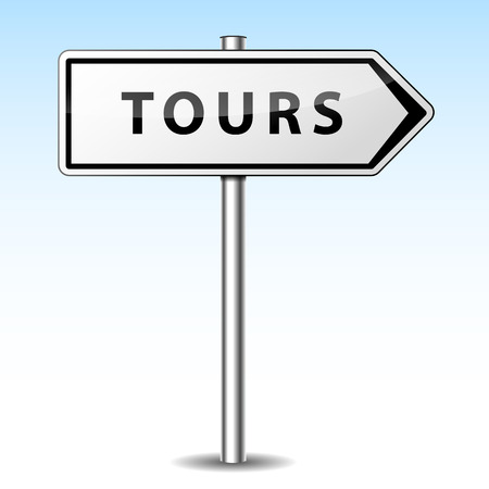 Vector illustration of tours directional sign on sky background Illustration