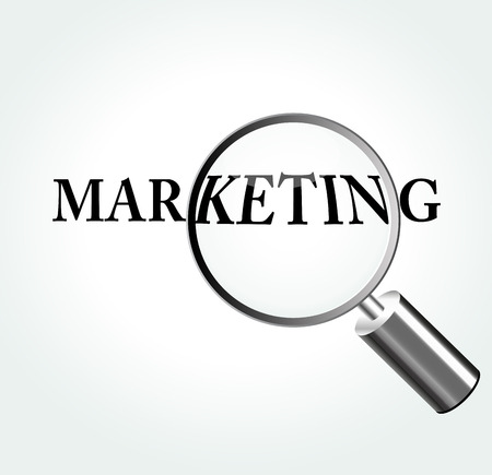 Vector illustration of marketing concept with magnifying Vector