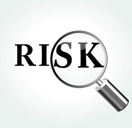 Vector illustration of risk concept with magnifying Vector