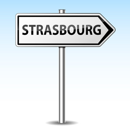 strasbourg: Vector illustration of strasbourg directional sign on sky background