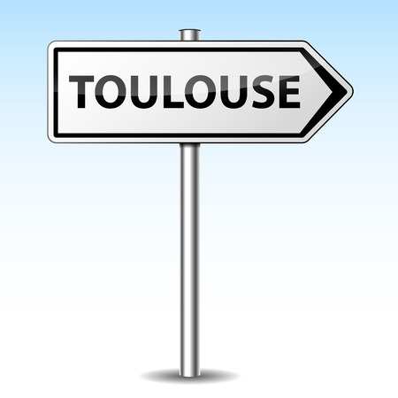 toulouse: Vector illustration of toulouse directional sign on sky background