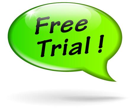 Vector illustration of green free trial speech bubble Vector