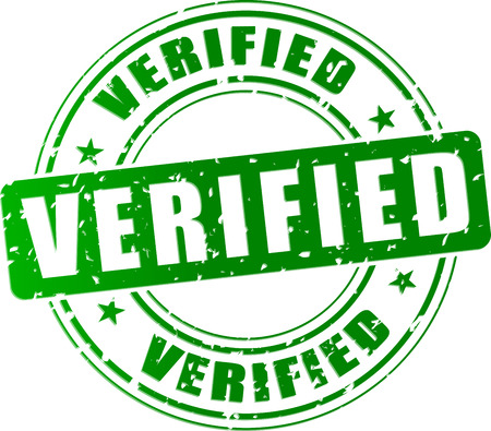 verified: Vector illustration of green verified stamp icon