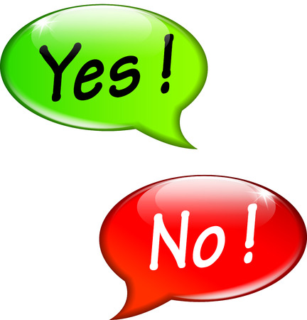 yes or no: Vector illustration of yes and no speech bubbles Illustration