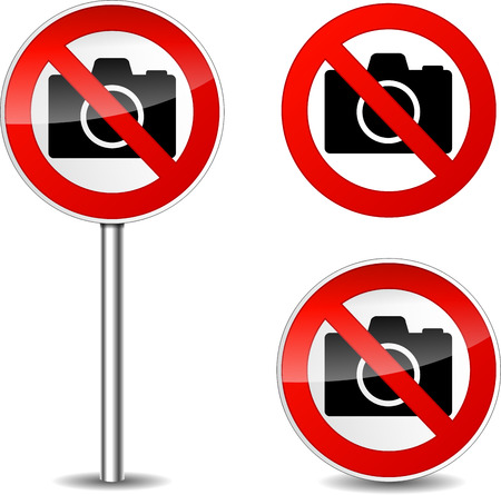 Vector illustration of no camera signs on white background Vector