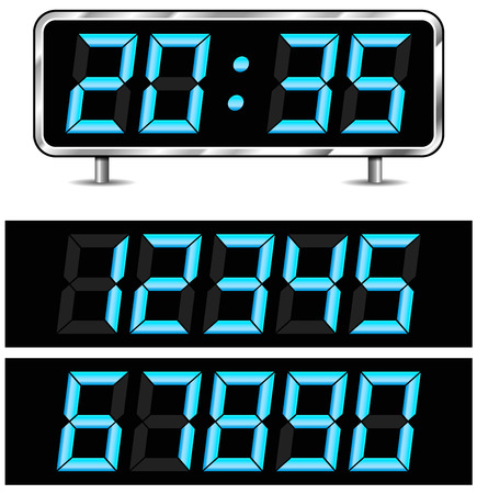 digital clock: Vector illustration of modern digital clock with numbers isolated