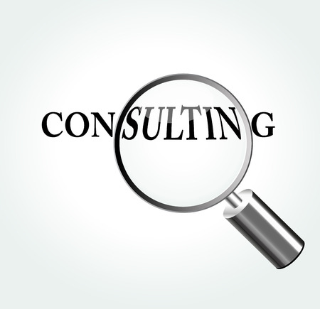 Vector illustration of consulting concept with magnifying Illustration
