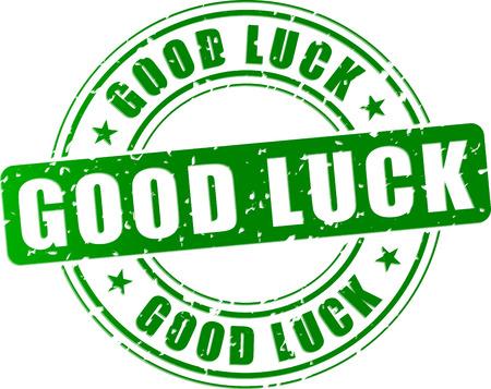 buena suerte: Ilustración vectorial de verde buena icono sello suerte Vectores