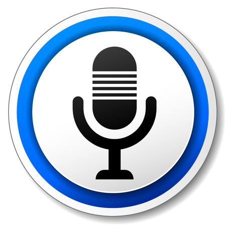 Vector illustration of blue and white microphone icon Vector