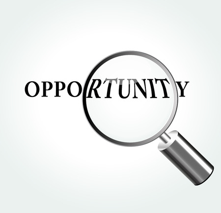 opportunity: Vector illustration of opportunity concept with magnifying