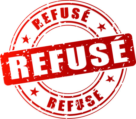 refused: Ilustraci�n vectorial de rojo se neg� icono sello