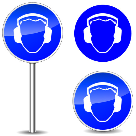 HAZARD SIGNS: Vector illustration of safety noise blue sign icons