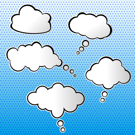 chat bubbles: Vector illustration of white speech bubbles on blue background