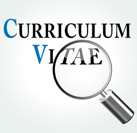 Ilustración vectorial de curriculum vitae concepto con lupa Foto de archivo - 30076644
