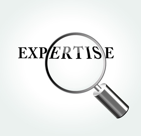 Vector illustration of expertise concept with magnifying