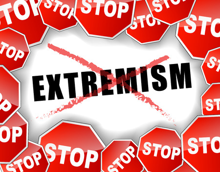 preventing: Vector illustration of stop extremism concept background