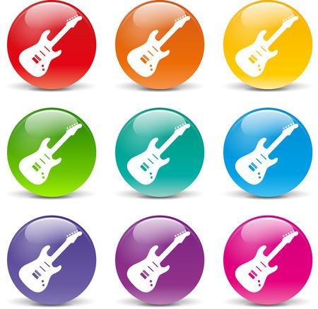 hardrock: Vector illustration of guitar set icons on white background