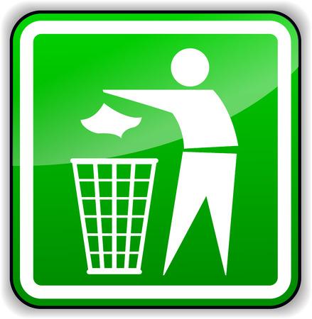 Vector illustration of throw away trash green sign Illustration