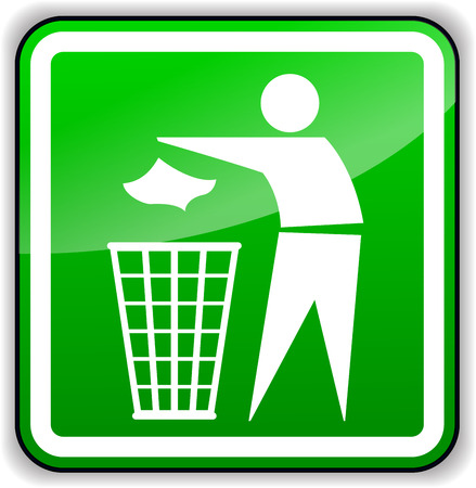 Vector illustration of throw away trash green sign Illustration