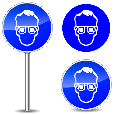 Vector illustration of safety glasses blue sign icons Vetores
