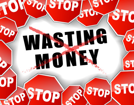 waste money: Vector illustration of stop wasting money concept Illustration