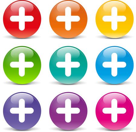 addition: Vector illustration of plus set icons on white background