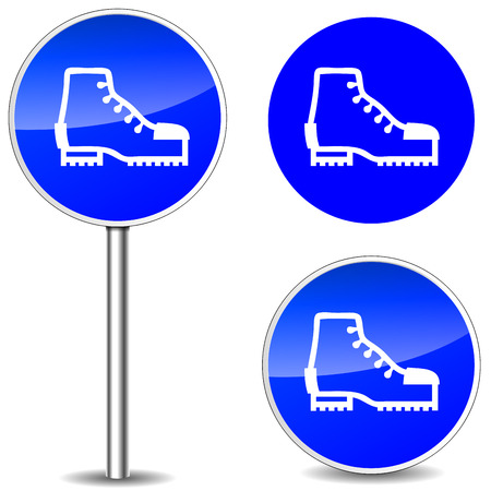 electrical safety: Vector illustration of safety shoes blue sign icons Illustration