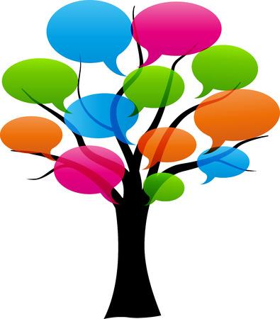 スピーチの泡と抽象的な木のベクトル イラスト