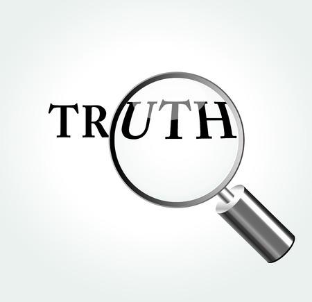 Vector illustratie van de waarheid concept met vergrootglas Stock Illustratie