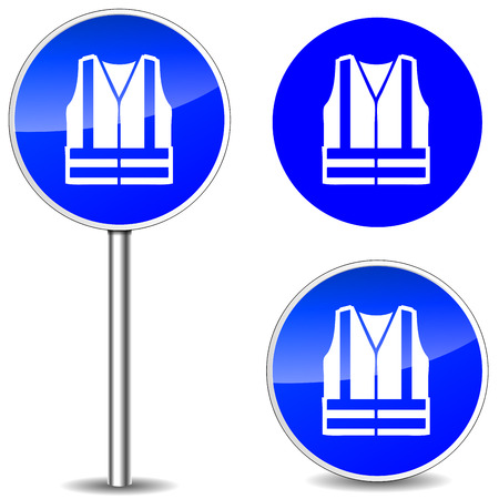 Vector illustration of safety vest blue sign icons Vector