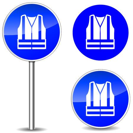 Vektor-Illustration der Sicherheitsweste blau Zeichen Symbole