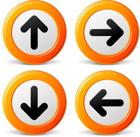 Vector illustration of navigation arrows orange set icons Vector