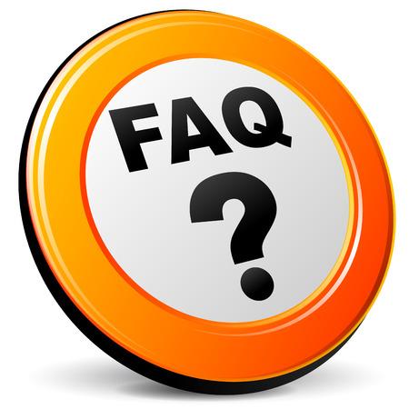 faq icon: Ilustraci�n vectorial de color naranja icono faq 3d