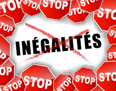 inequality: French translation of stop inequalities concept illustration Illustration