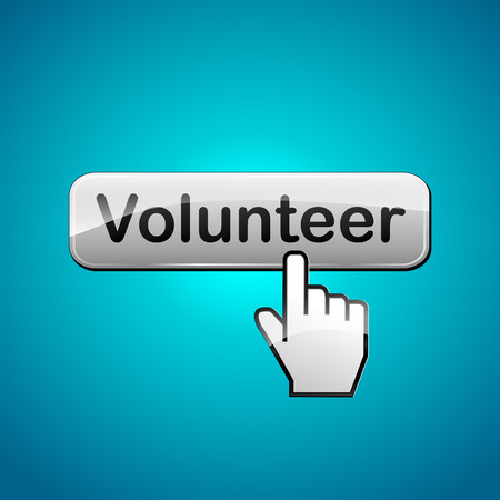 Vector illustration of volunteer button on blue background