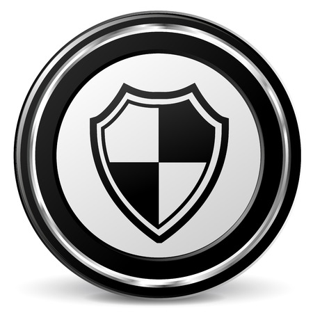 Vector illustration of metal shield icon on white background