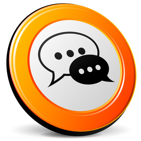 Vector illustration of orange 3d chat icon Vector
