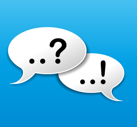 exclamation mark: illustration of speech bubbles on blue background