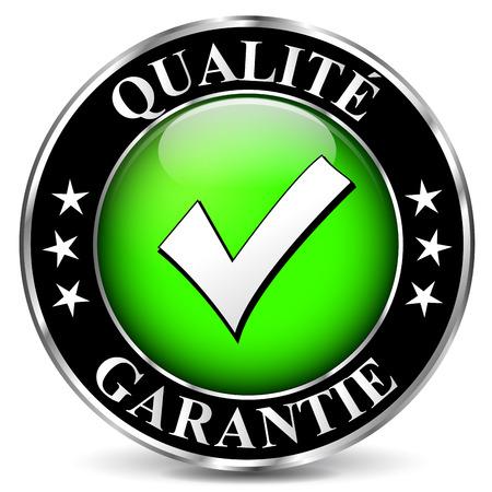 Franse vertaling voor kwaliteitsgarantie vector icon Stock Illustratie