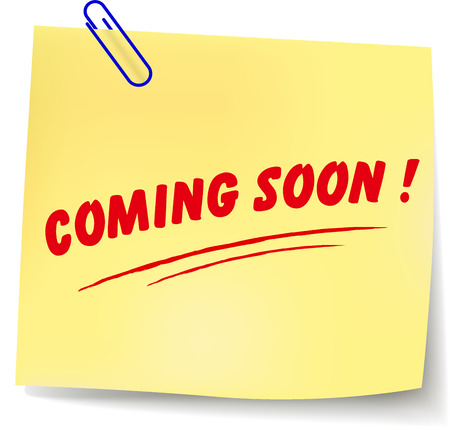 coming: Vector illustration of coming soon paper message on white background
