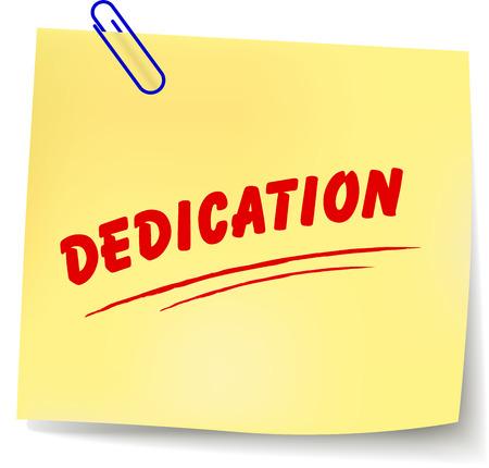 dedication: Vector illustration of dedication message on white background