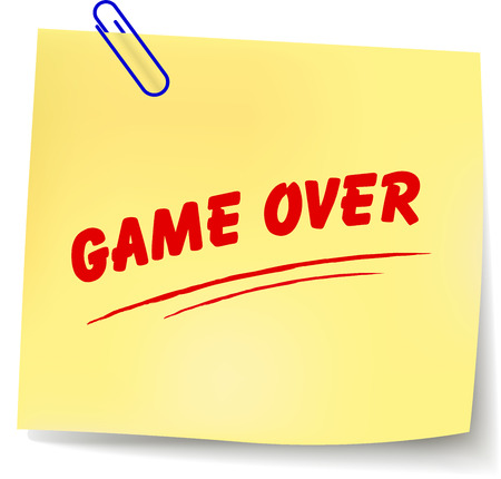 Vector illustration of game over message on white background Vector