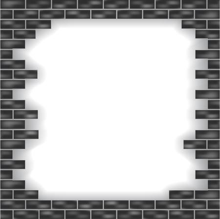 muro rotto: Illustrazione vettoriale di sfondo grigio muro rotto con mattoni Vettoriali