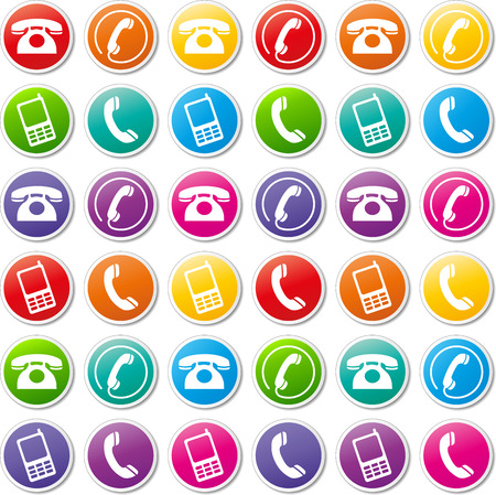 Vector illustration of various colorful phone icons Vector