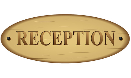 Vector illustration of wood reception sign on white background